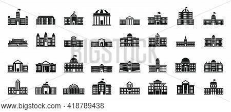 Parliament City Icons Set. Simple Set Of Parliament City Vector Icons For Web Design On White Backgr