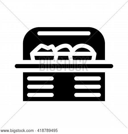 Food Showcase Glyph Icon Vector. Food Showcase Sign. Isolated Contour Symbol Black Illustration