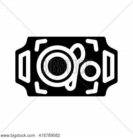 Dishware On Tray Buffet Glyph Icon Vector. Dishware On Tray Buffet Sign. Isolated Contour Symbol Bla