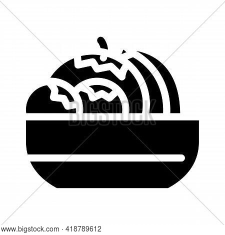 Fruits And Berries In Plate Buffet Glyph Icon Vector. Fruits And Berries In Plate Buffet Sign. Isola