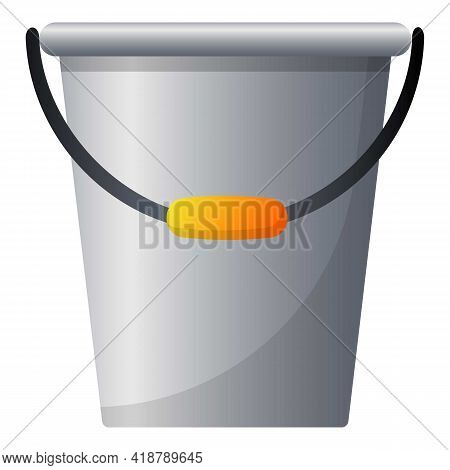 Garden Steel Bucket Icon. Cartoon Of Garden Steel Bucket Vector Icon For Web Design Isolated On Whit