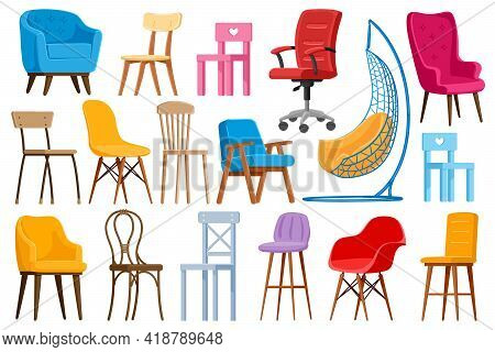 Cartoon Chairs. Home Or Office Modern Chairs And Armchairs, Interior Furniture Elements Isolated Vec