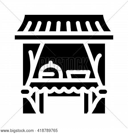 Tent Buffet Glyph Icon Vector. Tent Buffet Sign. Isolated Contour Symbol Black Illustration