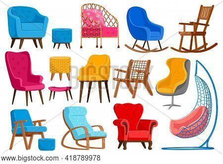 Cartoon Armchairs. Modern Comfortable Furniture, Apartment Interior Or Office Armchairs Vector Illus