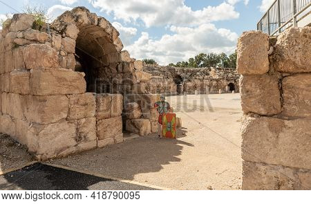 Kiryat Gat, Israel, March 27, 2021 : Remains Of A Tunnel Under The Podium At The Ruins Of The Beit G