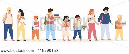 Pupils Go To School. Children With Backpacks And Books Heading To School, School Students Walking Ve