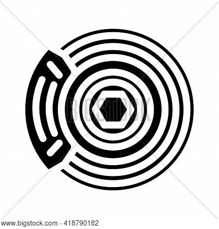 Brake Disk Car Glyph Icon Vector. Brake Disk Car Sign. Isolated Contour Symbol Black Illustration