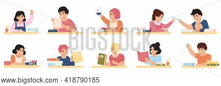 Pupils Studying. Students In School Classroom, Elementary School Pupils Studying Together Vector Ill