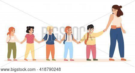 Kids Following Teacher. Kindergarten Teacher Takes Children To Class Or For Outdoor Playing Vector I