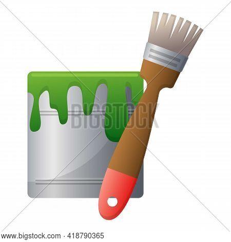 Garden Pain Bucket Icon. Cartoon Of Garden Pain Bucket Vector Icon For Web Design Isolated On White