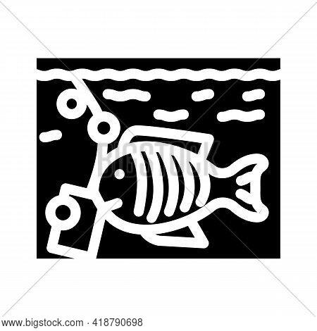 Aquarium With Fish Glyph Icon Vector. Aquarium With Fish Sign. Isolated Contour Symbol Black Illustr