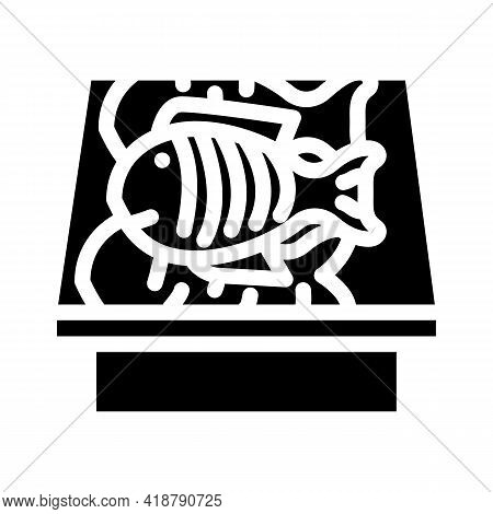 Showcase With Fish Glyph Icon Vector. Showcase With Fish Sign. Isolated Contour Symbol Black Illustr