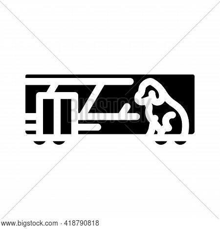Animal Carriage Railway Service Glyph Icon Vector. Animal Carriage Railway Service Sign. Isolated Co
