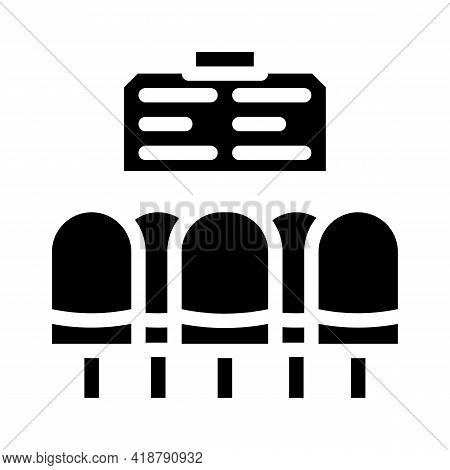 Waiting Hall Railway Station Glyph Icon Vector. Waiting Hall Railway Station Sign. Isolated Contour