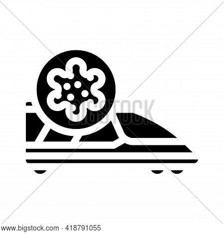 Infected Train Glyph Icon Vector. Infected Train Sign. Isolated Contour Symbol Black Illustration
