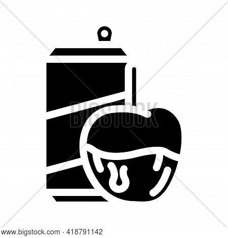 Caramel Fruits Snack And Drink Glyph Icon Vector. Caramel Fruits Snack And Drink Sign. Isolated Cont