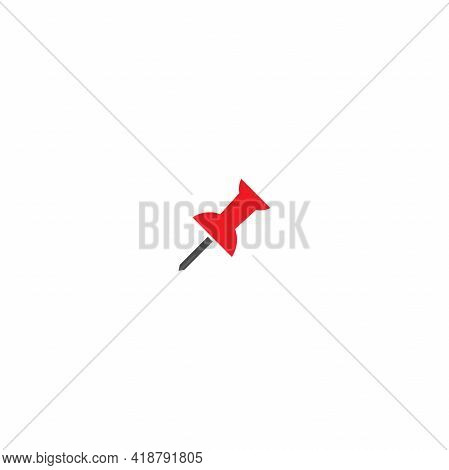 Red Push Pin Icon Isolated On White. Office Stationary Needle. Vector Illustration.