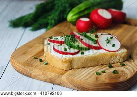 Bread With Curd Cheese, Fresh Radish, Cucumber On A Wooden Cutting Board - Concept Of Healthy Fitnes