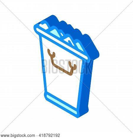 Ice Bucket Bartender Isometric Icon Vector. Ice Bucket Bartender Sign. Isolated Symbol Illustration