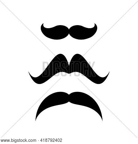 Retro Moustache Silhouettes Set. Black Simple Cut Out Samples Isolated On White. Vector Flat Illustr