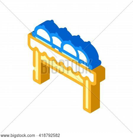 Dishes On Tables Isometric Icon Vector. Dishes On Tables Sign. Isolated Symbol Illustration