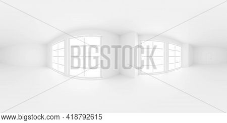 Full 360 Seamless Panorama Of Empty White Entrance Hall Room Without Furniture 3d Render Illustratio