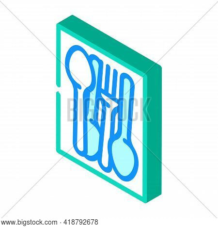 Kitchenware Spoon And Fork Isometric Icon Vector. Kitchenware Spoon And Fork Sign. Isolated Symbol I