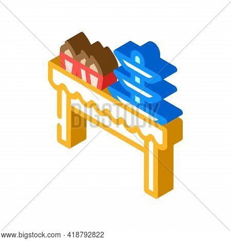 Dessert Table Buffet Isometric Icon Vector. Dessert Table Buffet Sign. Isolated Symbol Illustration