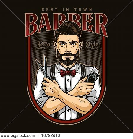Barbershop Retro Colorful Emblem With Inscriptions Elegant Bearded And Mustached Barber With Trendy