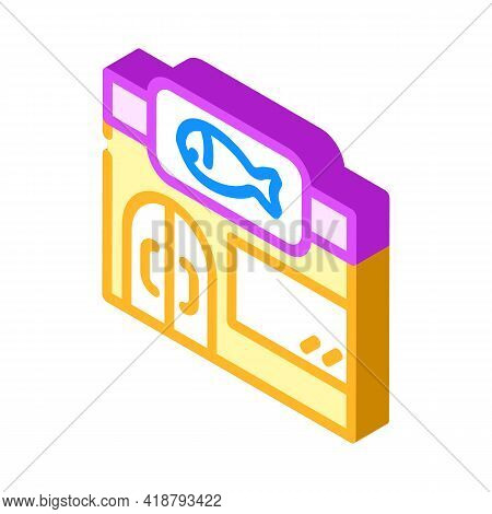 Store Fish Isometric Icon Vector. Store Fish Sign. Isolated Symbol Illustration