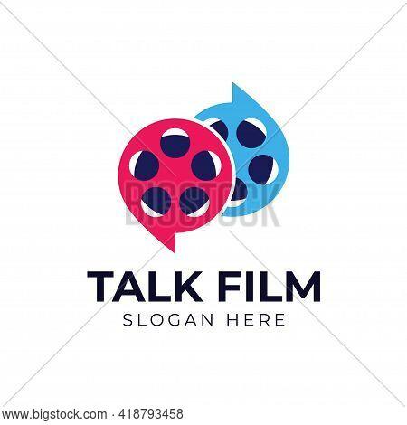 Talk Film Movie Logo Template Vector Illustration