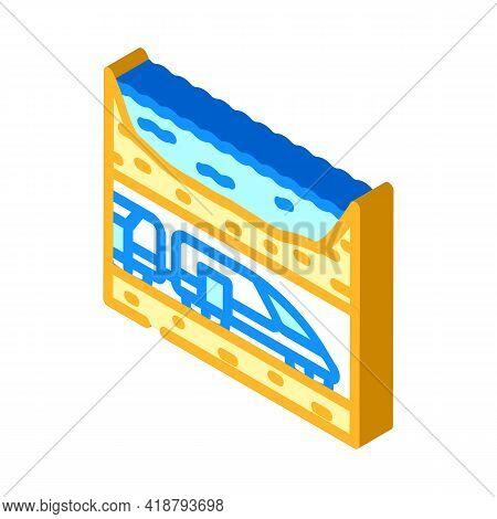 Underwater Railway Tunnel Isometric Icon Vector. Underwater Railway Tunnel Sign. Isolated Symbol Ill
