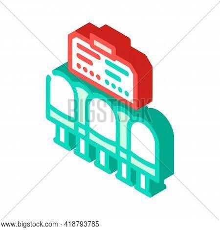 Waiting Hall Railway Station Isometric Icon Vector. Waiting Hall Railway Station Sign. Isolated Symb
