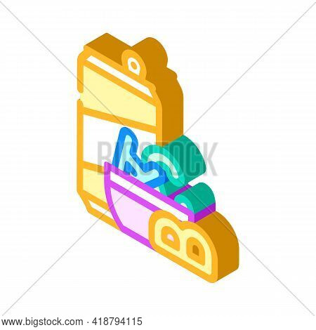 Letter Shaped Cookies Snack Isometric Icon Vector. Letter Shaped Cookies Snack Sign. Isolated Symbol