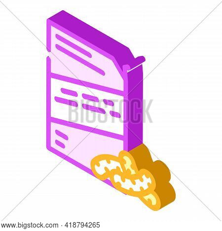 Corn Sticks Snack Isometric Icon Vector. Corn Sticks Snack Sign. Isolated Symbol Illustration