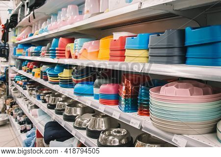 Interior Of Pet Store With Large Assortment Of Pet Accessories, Bowls For Pets