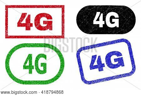 4g Grunge Seal Stamps. Flat Vector Grunge Seal Stamps With 4g Tag Inside Different Rectangle And Rou
