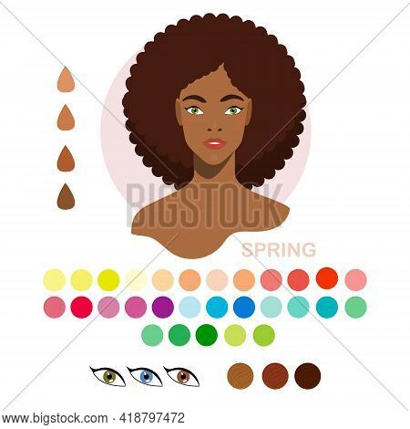 Black Woman Appearance Color Type Spring. Woman Portrait With Color Type Or Types Of Skin Color. Fas