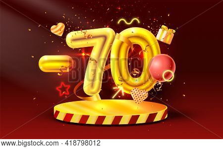 70 Off. Discount Creative Composition. 3d Golden Sale Symbol With Decorative Objects, Heart Shaped B