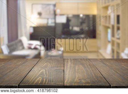 Abstract Blurred Background Of Modern Living Room With Chairs, Sofa, Torchere From Showroom.
