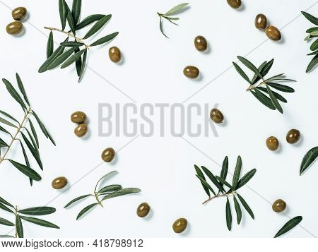 Pattern With Green Olives And Olives Tree Leaves And Branches On White Background, Copy Space In Cen