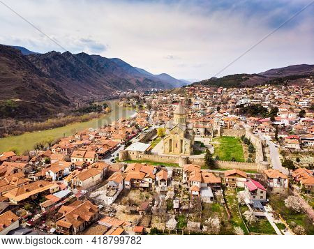 Aerial View Mtskheta Cathedral Panorama With Valley And River Background.historical Sightseeing Obje