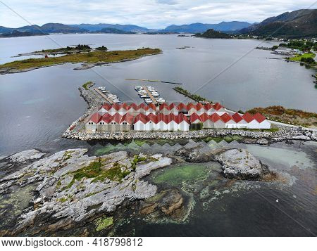 Norway Islands Drone View. Gurskoy Island Boat Garages And Marina Of Molustranda In More Og Romsdal