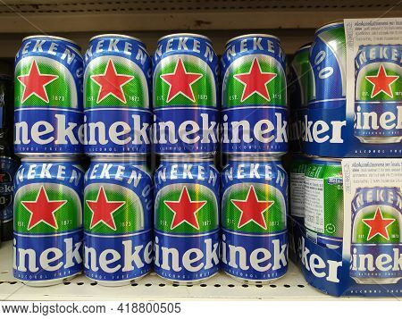 Chiang Mai - Thailand, April 20, 2021 : Non-alcoholic Beer Version Of Heineken Beer Glass Bottles An