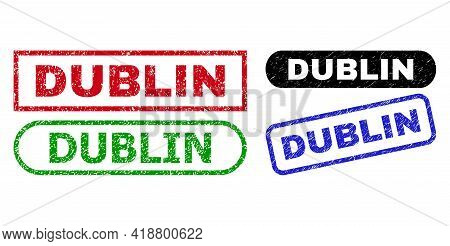Dublin Grunge Stamps. Flat Vector Grunge Seal Stamps With Dublin Phrase Inside Different Rectangle A