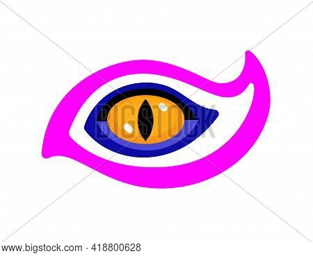 Beast Mystical Eye In Decorative Shape. Vector Isolated On White.