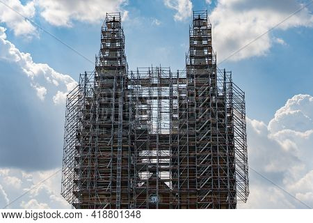 Saigon Notre-dame Cathedral Basilica Covered With Scaffolds During Restoration