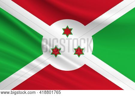 Flag Of Burundi. Fabric Texture Of The Flag Of Burundi.