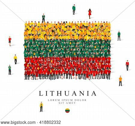 A Large Group Of People Are Standing In Yellow, Green And Red Robes, Symbolizing The Flag Of Lithuan
