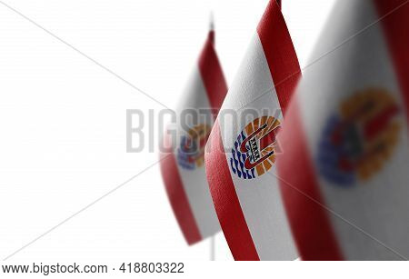 Small National Flags Of The French Polynesia On A White Background